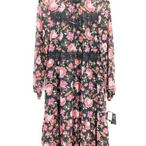 Nine West 14 Black Pink Floral Lace Dress L4-03